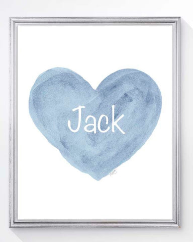 personalized blue heart arty print for boys nursery