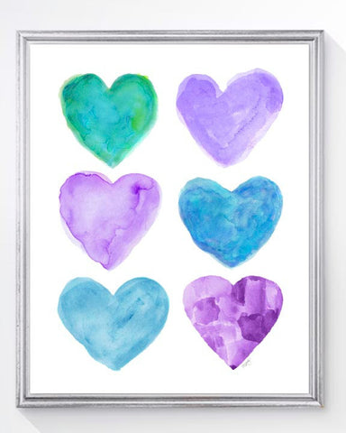 purple and turquoise heart collage art print