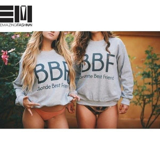 Best Friends Sisters Blonde Best Friend, Brunette Best Friends Sweatshirts - Emazing Fashion