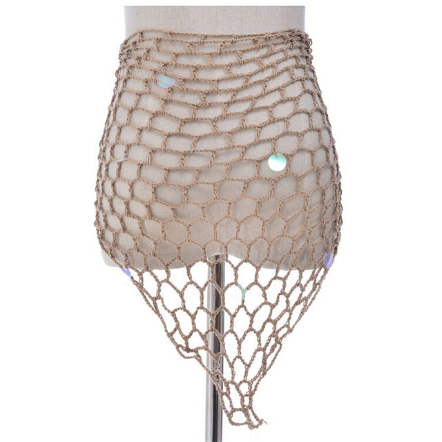 2018 Tunics for Beach Women Sequin Fishnet Crochet Mesh Bikini Summer Swimsuit Cover-up