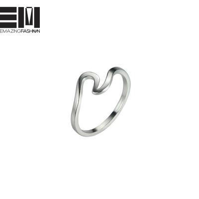 Rose Gold Silver Wave Rings for Women - Emazing Fashion