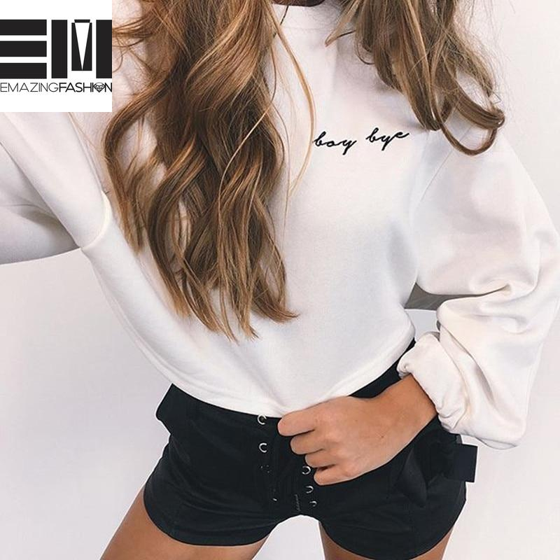 Not Your Baby/Boy Bye Lace Up Bow Sleeve Sweatshirt Pullover - Emazing Fashion