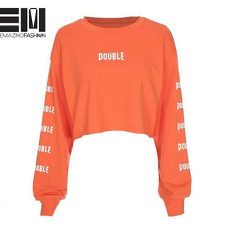 Double Trouble Orange Long Sleeve Cropped Sweatshirt