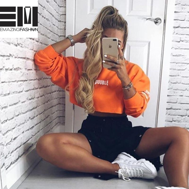 Double Trouble Orange Long Sleeve Cropped Sweatshirt - Emazing Fashion