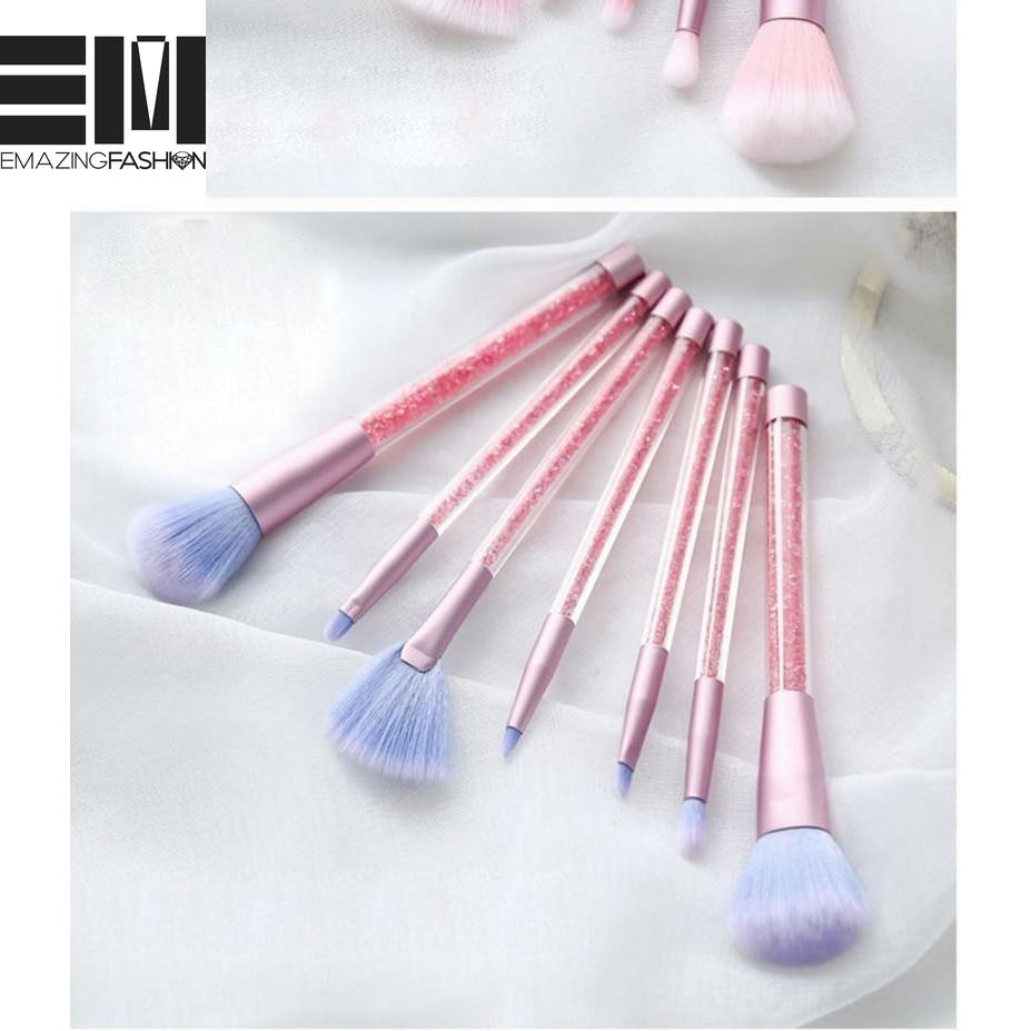 7 Pcs Unicorn Glitter Diamond Crystal Handle Makeup Brushes