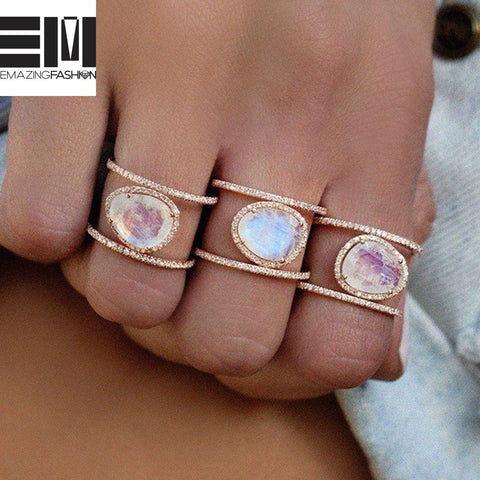 Irregular Natural Moonstone Rings For Women