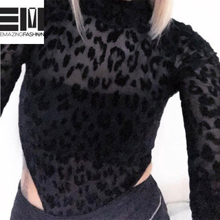 Leopard Bodysuit Animal Print Mesh Bodysuit Jumpsuit - Emazing Fashion