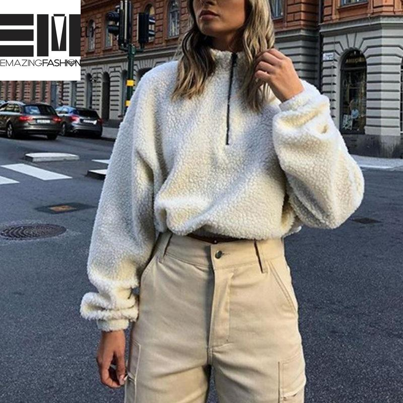 Faux Fluffy White Cropped Pullover