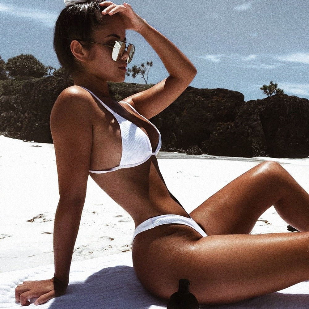 White Ribbed Simple Slay Bikini