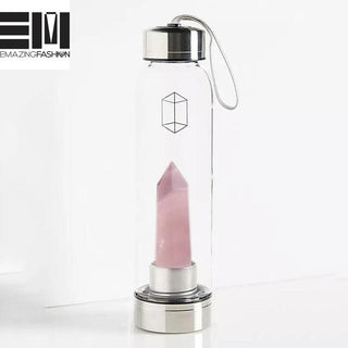 100% Natural Crystal Quartz Gemstone Glass Water Bottles - Emazing Fashion