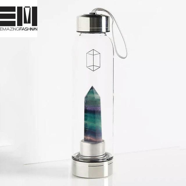 100% Natural Crystal Quartz Gemstone Glass Water Bottles (1 left in stock!) - Emazing Fashion