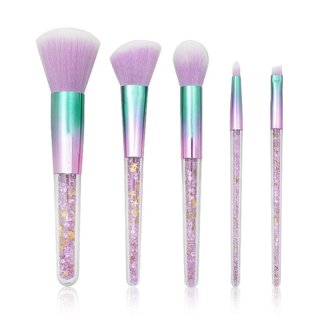 Purple Crystal Makeup Brush Set Diamond Handle with bling stars Unicorn Glitter