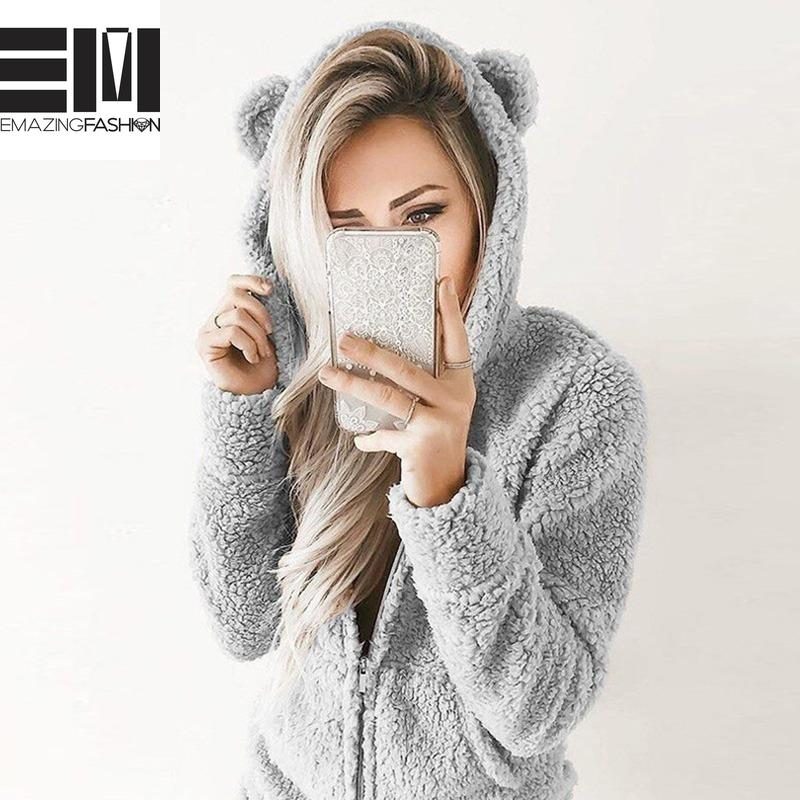 Fleece Hooded Bear Ears Adorable Cozy Women's Romper - Casual - Emazing Fashion