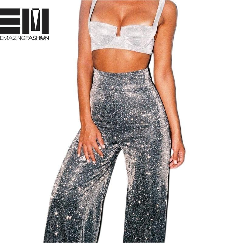 Glitter High Waisted Party Pants Party - Women Flare - Emazing Fashion