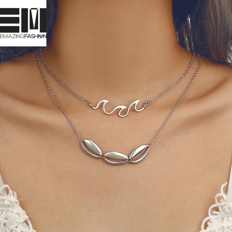Waves Necklace Choker with Chain Beach Nautical Surfing Jewelry Shell - Emazing Fashion