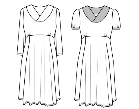 womens Jersey dress PDF sewing pattern