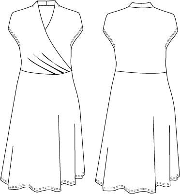 Jersey wrap dress with wrap and pleat effect at the waistline PDF sewing pattern