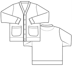 mens cardigan PDF sewing pattern simple placket