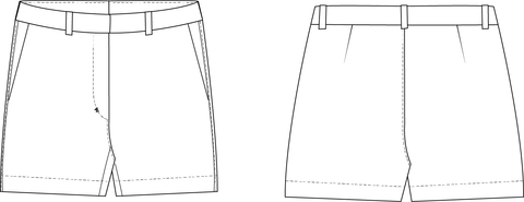 Flat front shorts PDF sewing pattern for women
