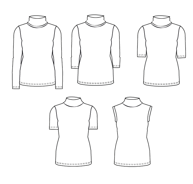 Trudy Turtleneck Blouse and T-shirt PDF sewing pattern for women ...