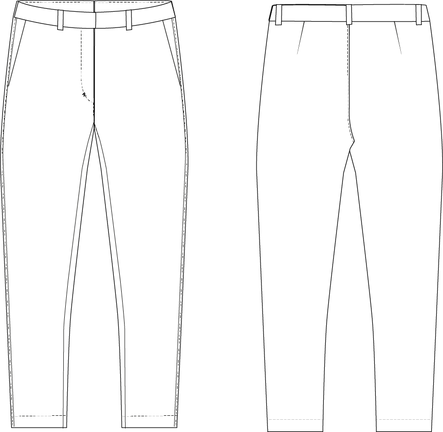 Slim fit flat front pants style sketch