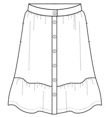 Front button skirt PDF sewing pattern