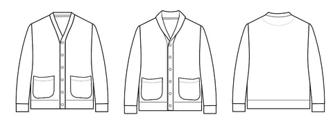 Men's classic cardigan PDF sewing pattern