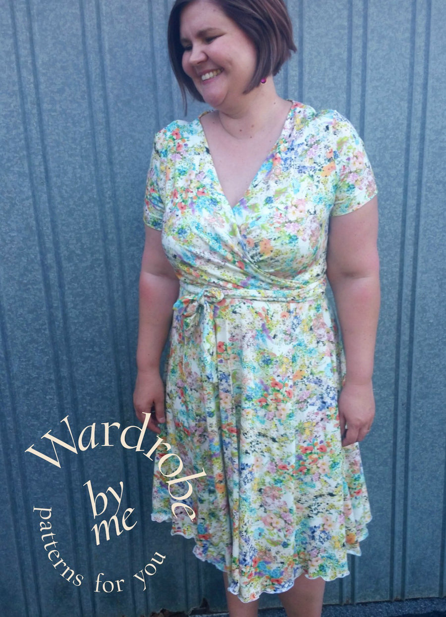 Dress PDF sewing pattern - Curvy  Wanda Jersey Wrap Dress