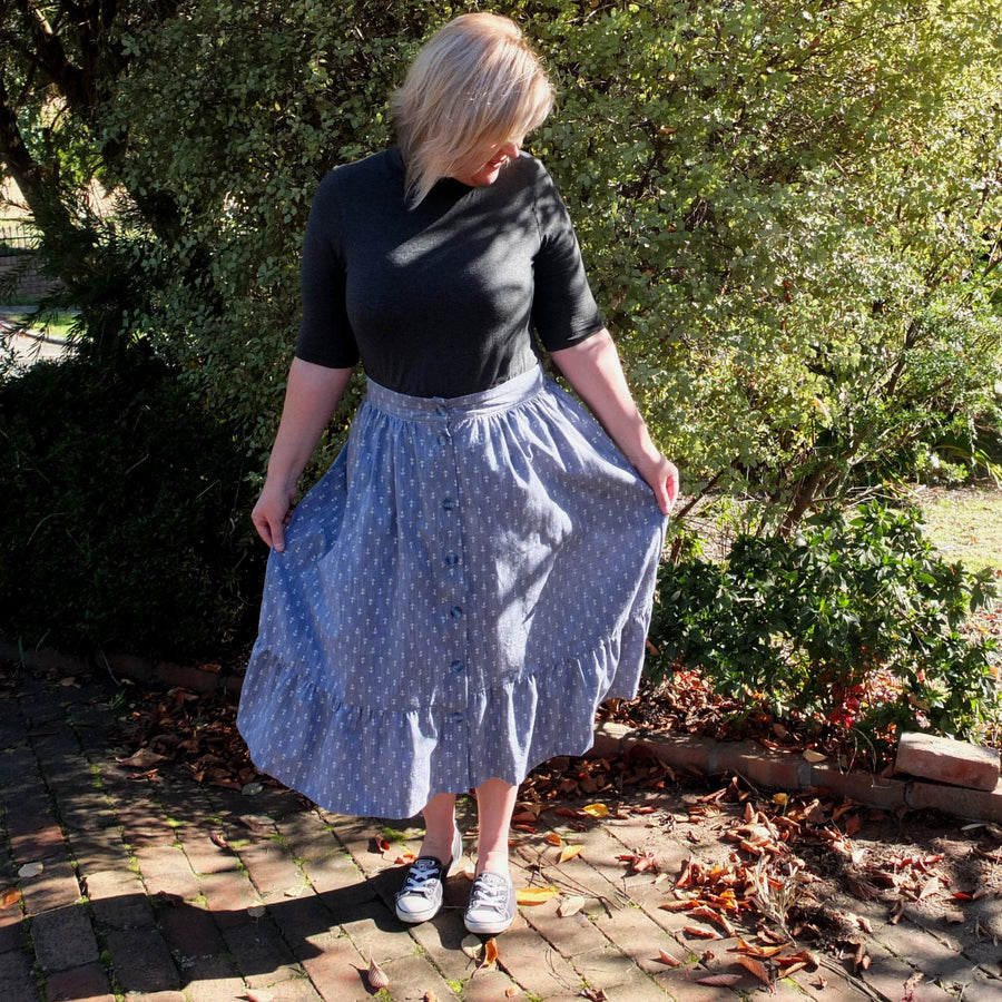 Women's Front Button Skirt sewing pattern