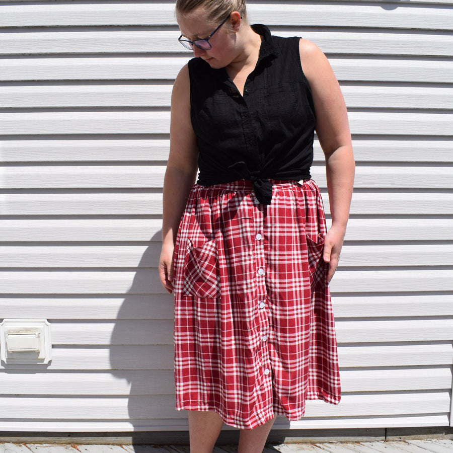 PDF Sewing Pattern - Front Button Skirt Sewing Pattern