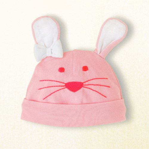 GEN Bunny Rabbit Knit Hat for Infants - Pink with White Ears - Easter (6-12 months)