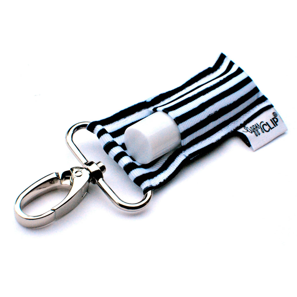 Black and White Pinstripes LippyClip Lip Balm Holder