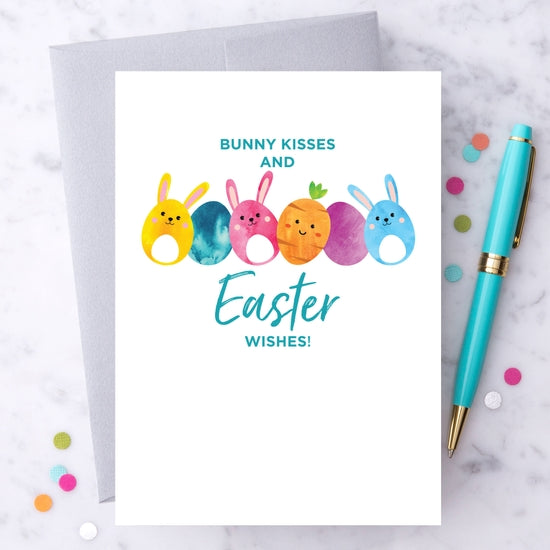 Bunny Kisses and Easter Wishes - Easter Greeting Card
