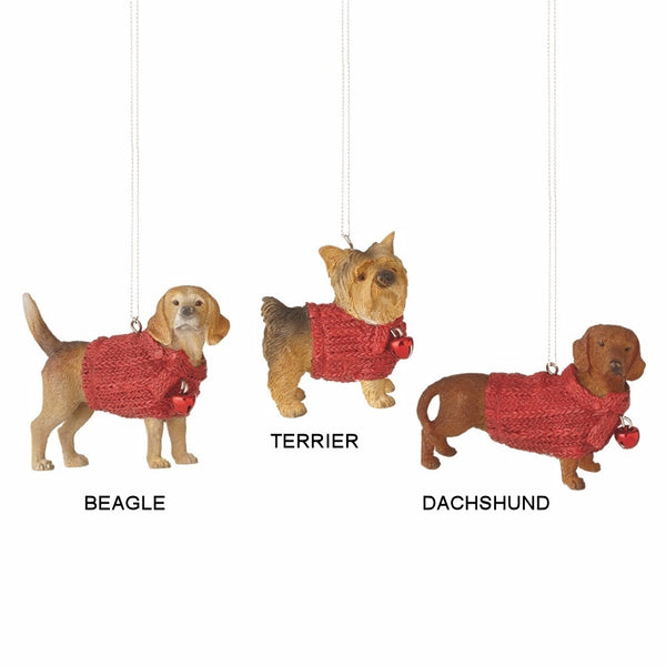 Lap Dog in Red Sweater Holiday Christmas Ornament - Mellow Monkey  - 1