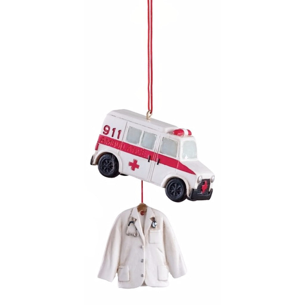 EMT EMS Ambulance Holiday Dangle Ornament - Mellow Monkey