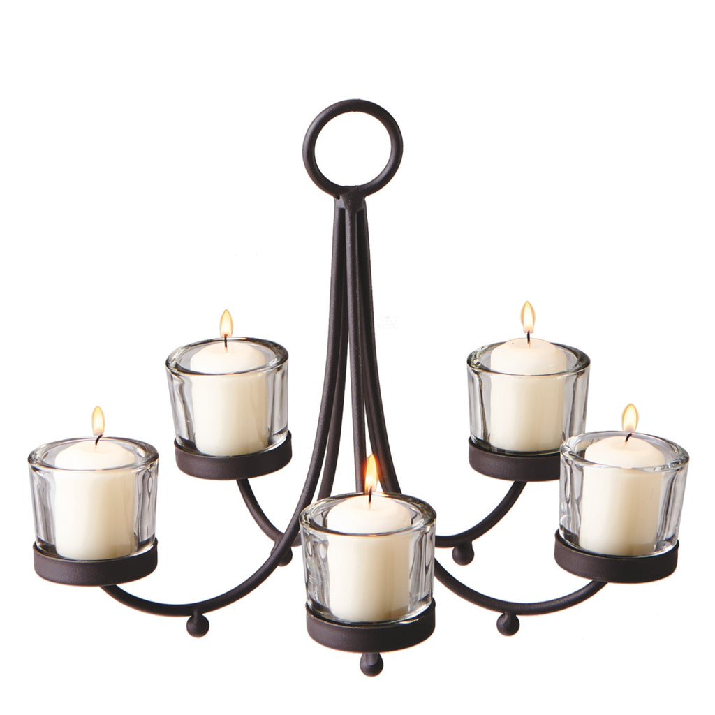 metal votive candle chandelier with 5 clear votive holders
