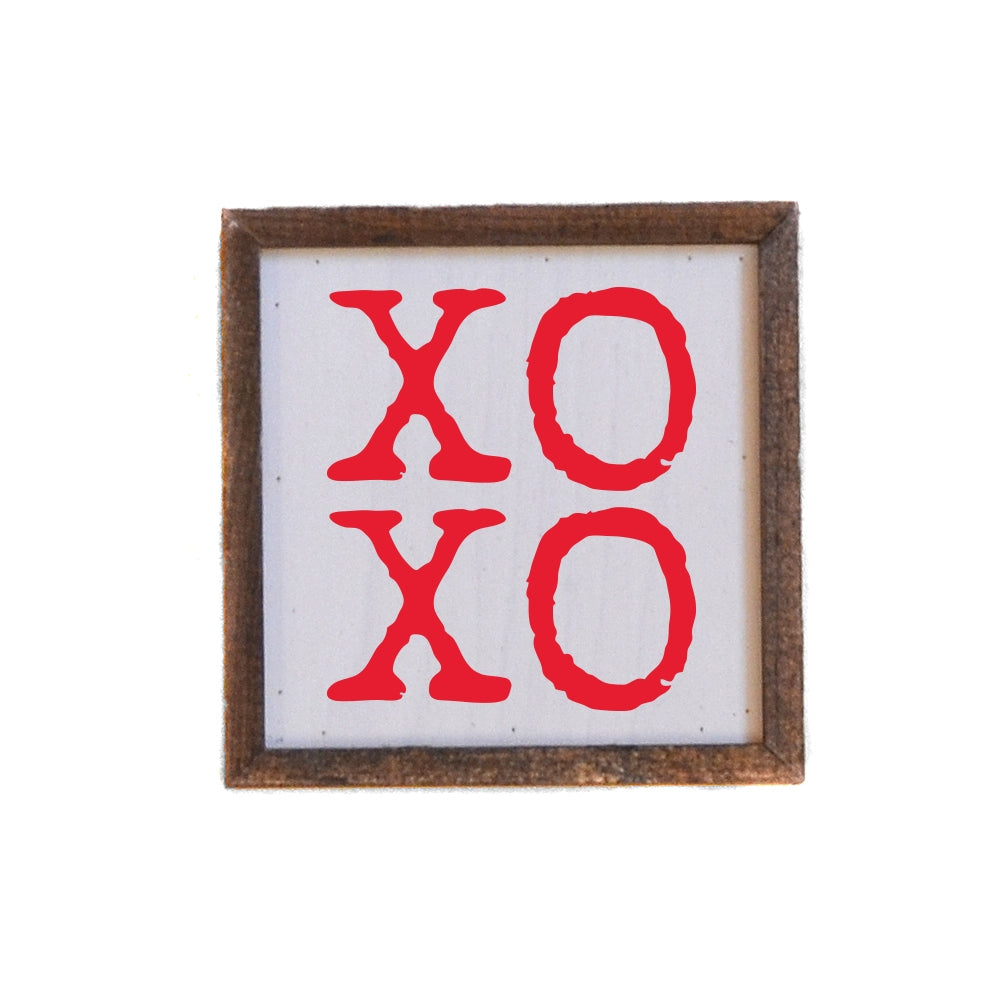 XOXO - Red Lettering on White - Wood Wall Sign Shelf Sitter - 6-in