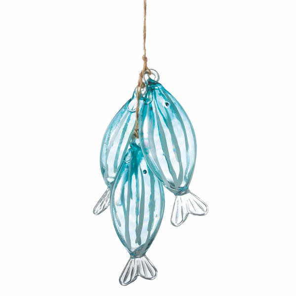 String of Three Blue Fish Glass Christmas Holiday Ornament - Mellow Monkey