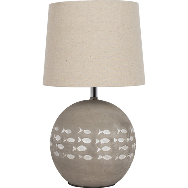 Cement Embossed School of Fish Small Table Lamp