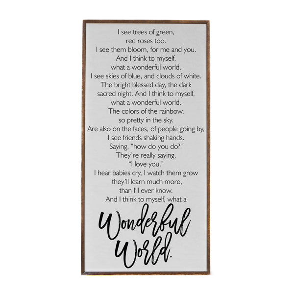 What A Wonderful World - Framed Wood Sign - 36-in