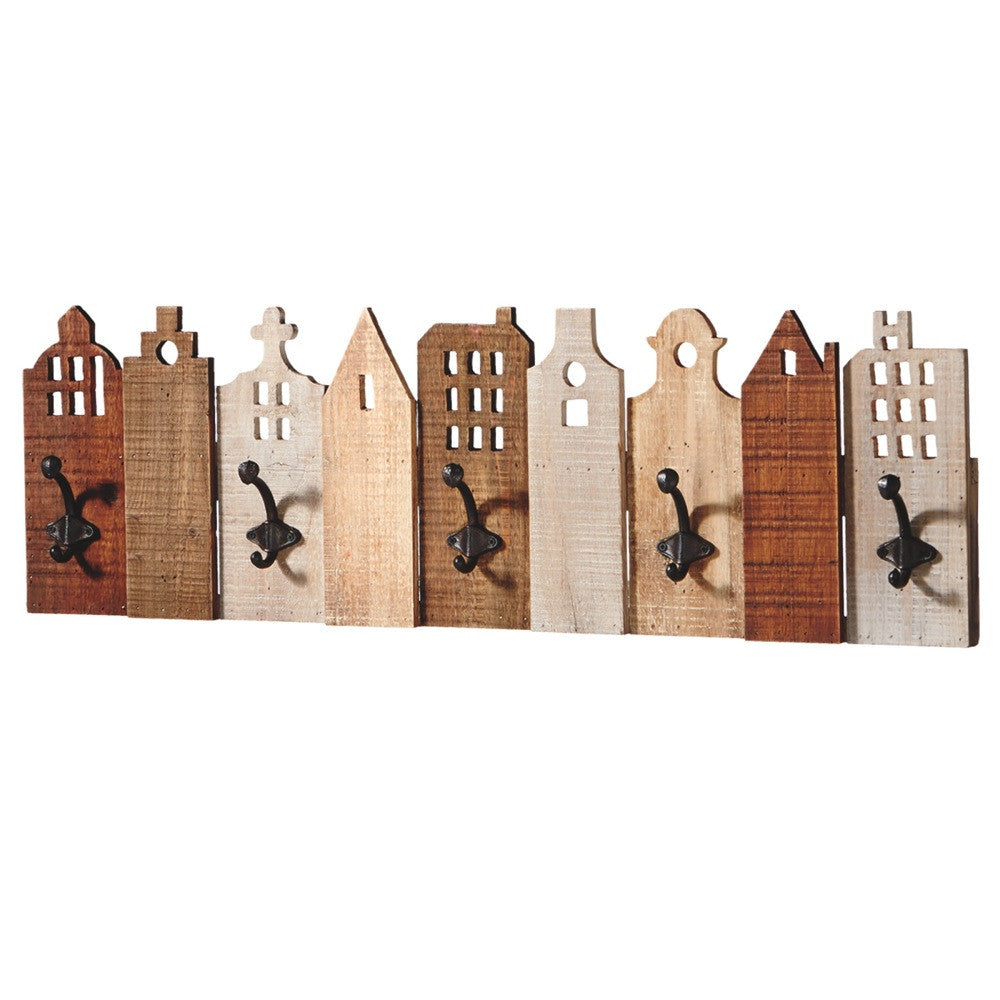 Village Houses Hook Board - Wood Wall Decor with 5 Hooks - Mellow Monkey