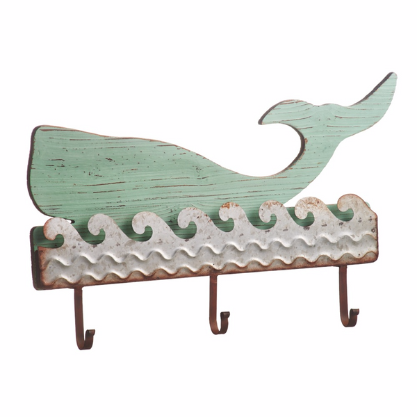 Aqua Whale and Silver Waves - Beach Lake Pool Style Distressed Coat Hanger Board - 3 Hooks - Mellow Monkey