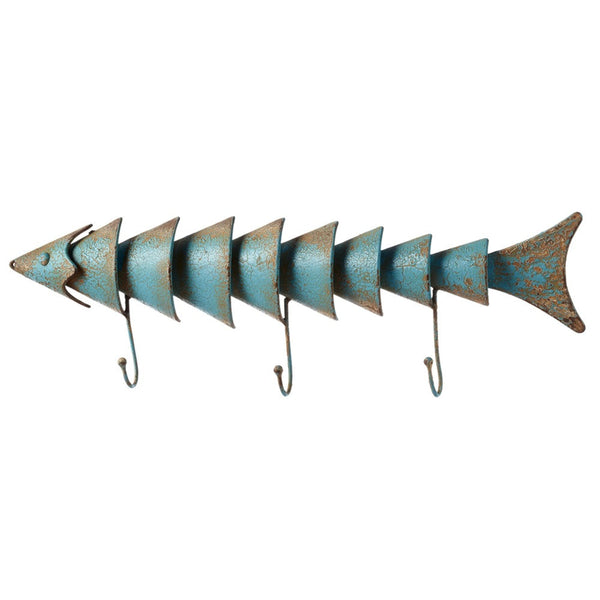 Distressed Blue Fish Wall Hook - 19-7/8-in