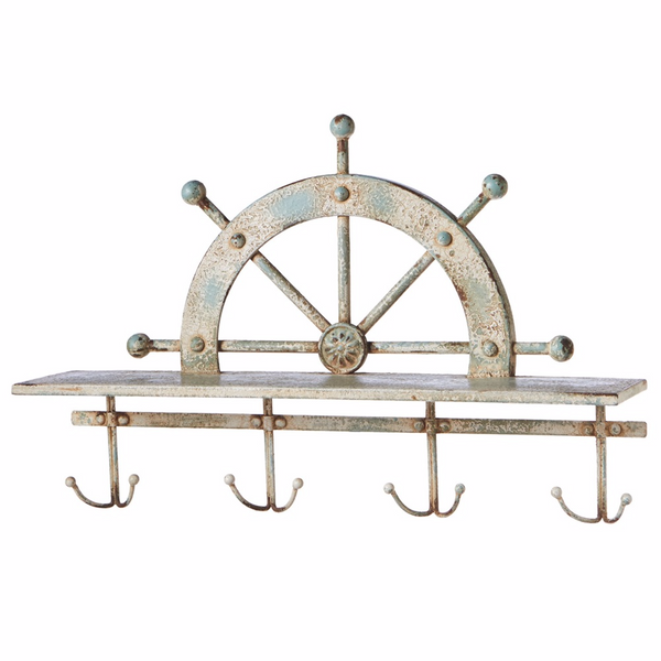 Ship Wheel Weathered Metal Wall Shelf with 4 Double Hooks 23-5/8-in - Mellow Monkey