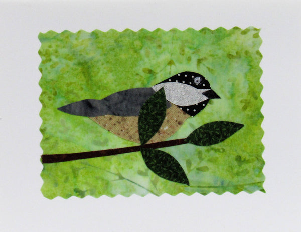 Chickadee Card - Hand Made Fabric and Paper Greeting Card