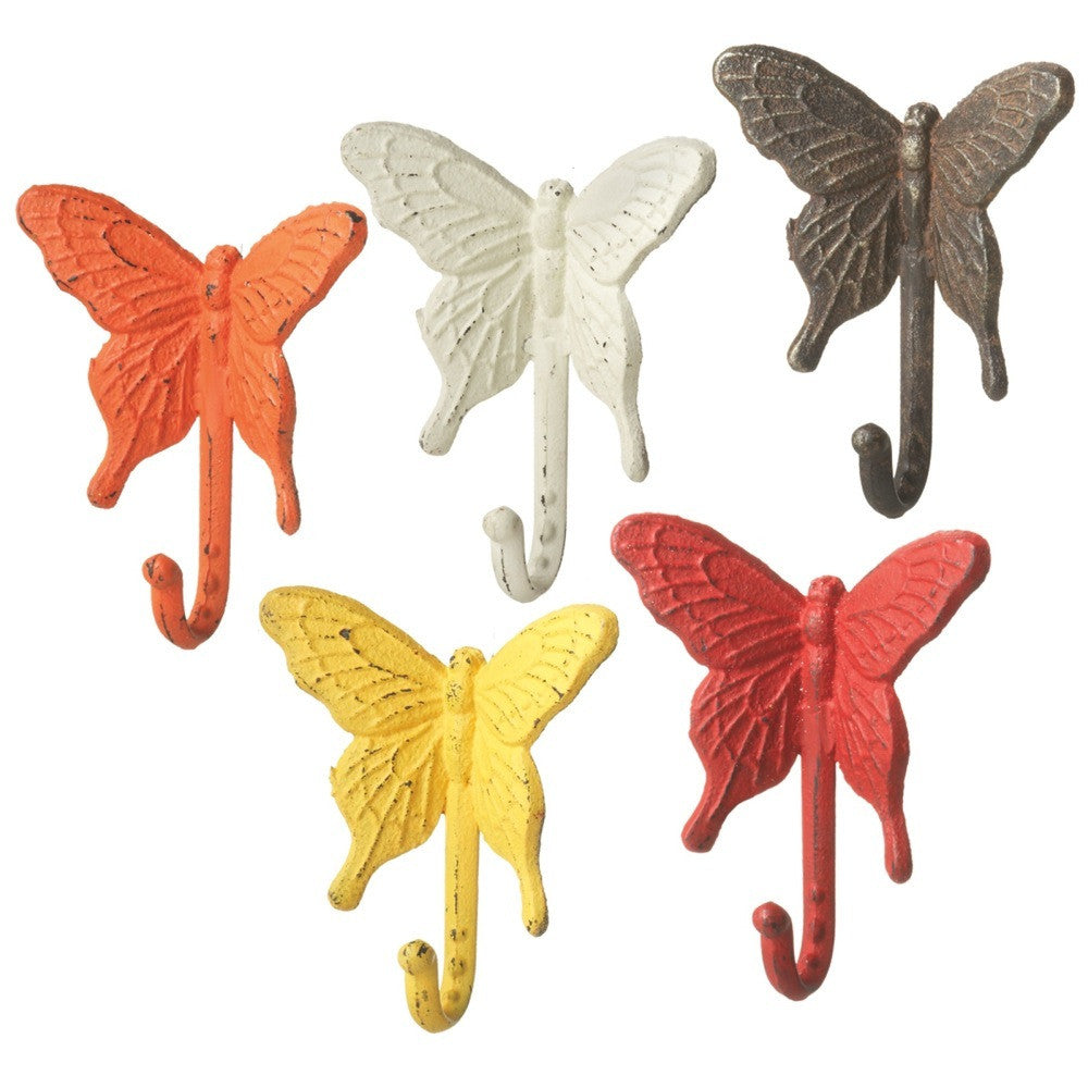 Colorful Butterfly Cast Iron Wall Hook Set 5 Pieces for Coats, Aprons, Hats, Towels, Pot Holders, More - Mellow Monkey