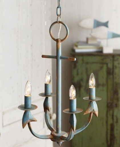 La Marina Nautical Weathered Anchor Chandelier Aqua Rust - 23-1/2-in - Mellow Monkey  - 1