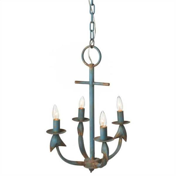 La Marina Nautical Weathered Anchor Chandelier Aqua Rust - 23-1/2-in - Mellow Monkey  - 2