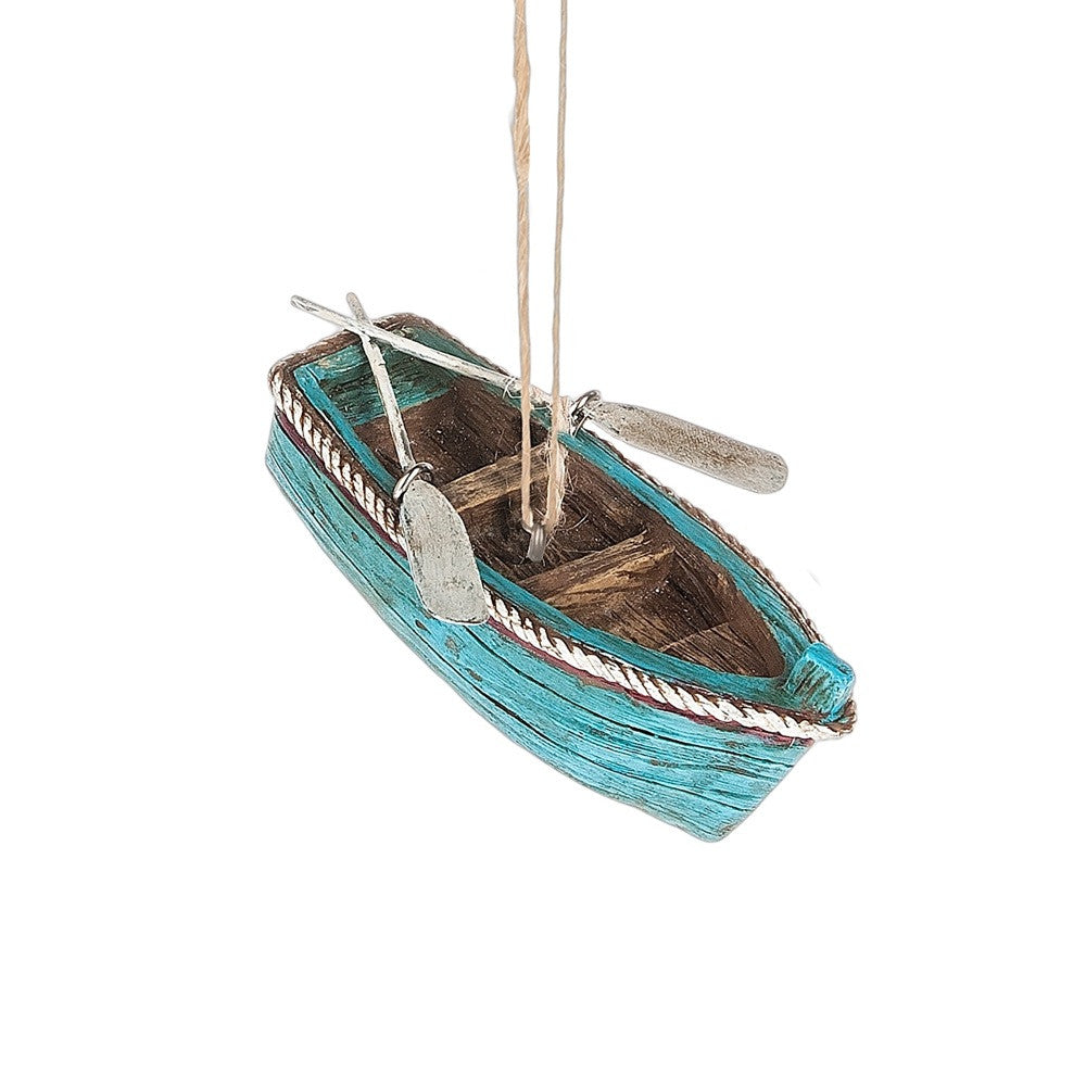 Rowboat with Hand Painted Oars Holiday Ornament - Mellow Monkey
