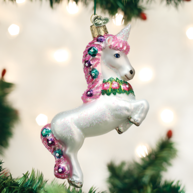 Old World Christmas Handcrafted Blown Glass Ornament - Unicorn